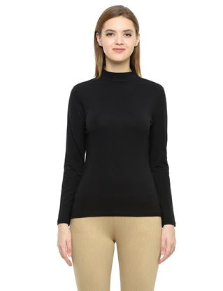 Picture of Frenchtrendz Cotton Spandex High Neck Halter Full Sleeve Black Tops