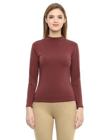 Picture of Frenchtrendz Cotton Spandex High Neck Halter Full Sleeve Brown Tops