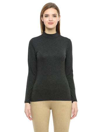Picture of Frenchtrendz Cotton Spandex High Neck Halter Full Sleeve Charcoal Tops