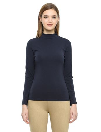 Picture of Frenchtrendz Cotton Spandex High Neck Halter Full Sleeve Navy Tops