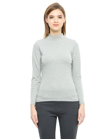 Picture of Frenchtrendz Cotton Spandex High Neck Halter Full Sleeve Grey Tops