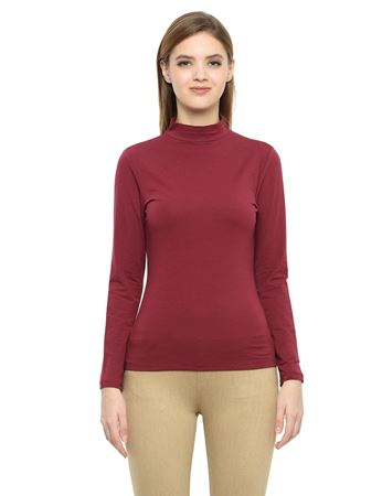 Picture of Frenchtrendz Cotton Spandex High Neck Halter Full Sleeve Light Maroon Tops