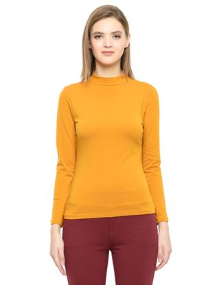 Picture of Frenchtrendz Cotton Spandex High Neck Halter Full Sleeve Mustard Tops