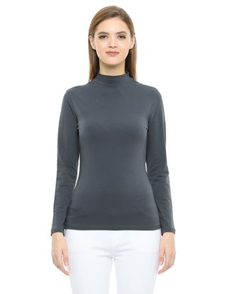 Picture of Frenchtrendz Cotton Spandex High Neck Halter Full Sleeve Slate Tops
