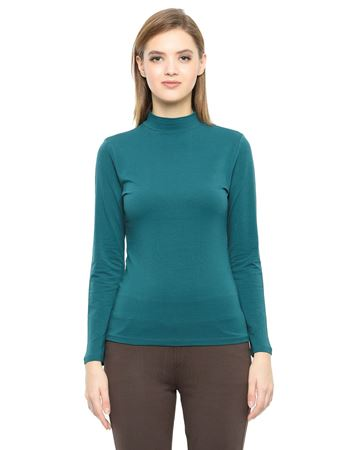 Picture of Frenchtrendz Cotton Spandex High Neck Halter Full Sleeve Teal Tops