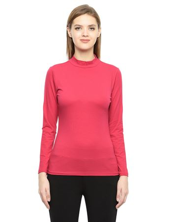Picture of Frenchtrendz Cotton Spandex High Neck Halter Full Sleeve Dark Fushia Tops