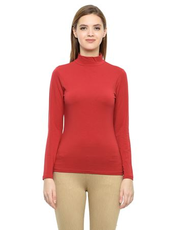 Picture of Frenchtrendz Cotton Spandex High Neck Halter Full Sleeve Red Tops
