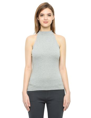 Picture of Frenchtrendz Cotton Spandex High Neck Halter Sleeveless Grey Tops