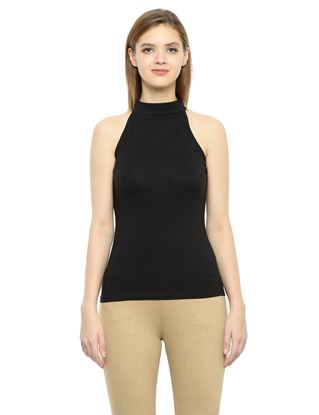 Picture of Frenchtrendz Cotton Spandex High Neck Halter Sleeveless Black Tops
