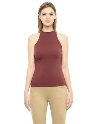 Picture of Frenchtrendz Cotton Spandex High Neck Halter Sleeveless Brown Tops