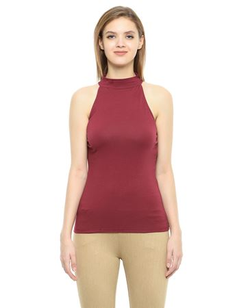 Picture of Frenchtrendz Cotton Spandex High Neck Halter Sleeveless Light Maroon Tops