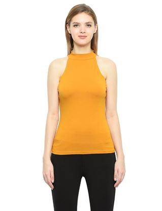 Picture of Frenchtrendz Cotton Spandex High Neck Halter Sleeveless Mustard Tops