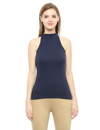 Picture of Frenchtrendz Cotton Spandex High Neck Halter Sleeveless Navy Tops
