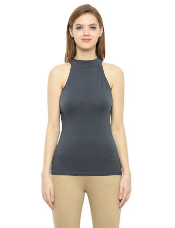 Picture of Frenchtrendz Cotton Spandex High Neck Halter Sleeveless Slate Tops