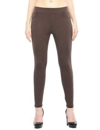 Picture of Frenchtrendz Cotton Poly Spandex Ponte Shape Style Brown Solid Jeggings