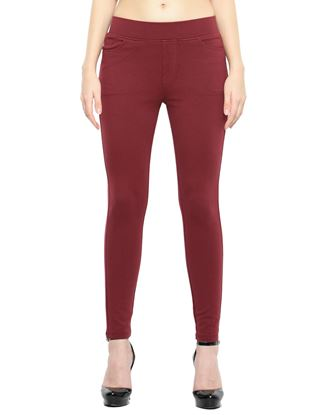 Picture of Frenchtrendz Cotton Poly Spandex Ponte Shape Style Maroon Solid Jeggings