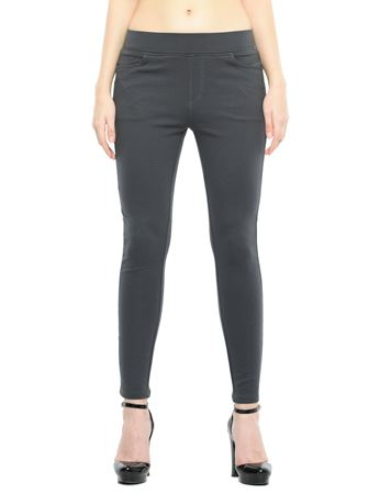 Picture of Frenchtrendz Cotton Poly Spandex Ponte Shape Style Slate Solid Jeggings