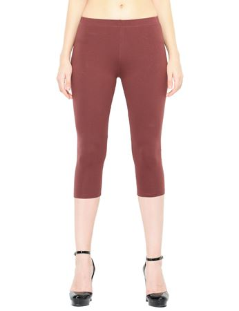 Picture of Frenchtrendz Cotton Spandex Brown Capris