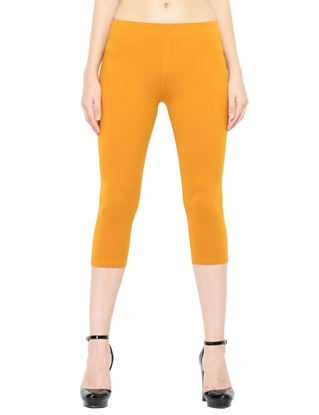 Picture of Frenchtrendz Cotton Spandex Mustard Capris