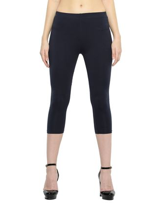 Picture of Frenchtrendz Cotton Spandex Navy Capris