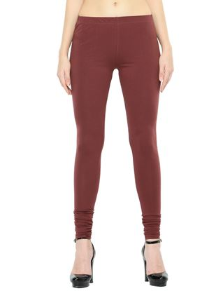 Picture of Frenchtrendz Cotton Spandex Brown Churidar Leggings