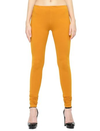Picture of Frenchtrendz Cotton Spandex Mustard Churidar Leggings
