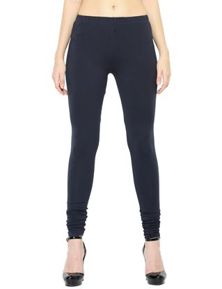 Picture of Frenchtrendz Cotton Spandex Navy Churidar Leggings