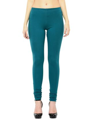 Picture of Frenchtrendz Cotton Spandex Teal Churidar Leggings