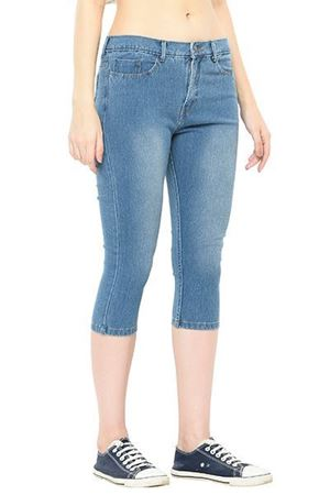 blue wash denim capri