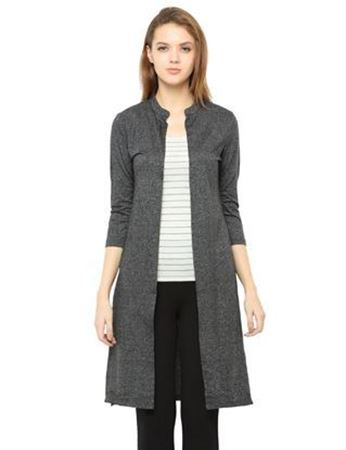 Picture of Frenchtrendz Poly Cotton Jaspe Long Length Black Shrugs
