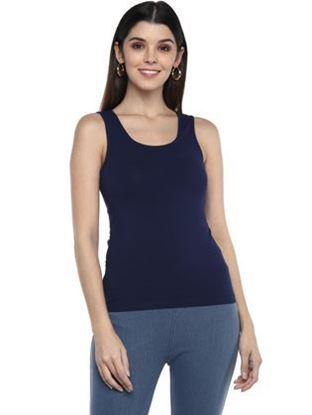 Frenchtrendz Cotton Spandex Blue Tank Top
