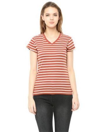 orange white striped top