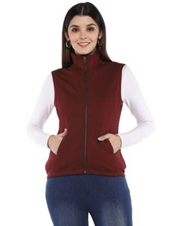 Frenchtrendz Viscose Fleece Dark Maroon Jacket